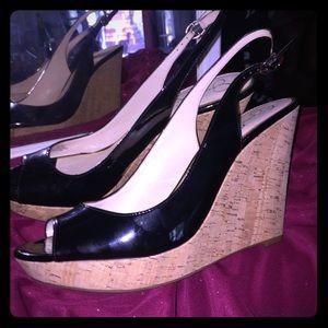 Jessica Simpson black patent wedge heels sz 12